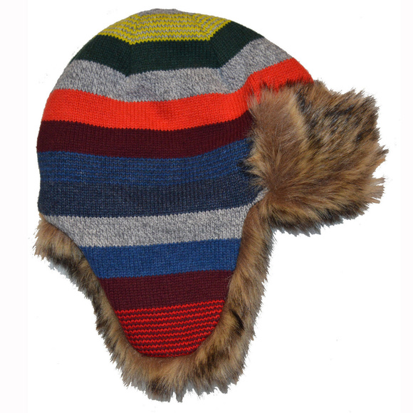 GAP Other - Baby Gap Crazy Stripe Faux Fur Lined Trapper Hat